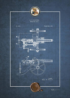 Digital Art - Machine Gun - Automatic Cannon By C.e. Barnes - Vintage Patent Blueprint by Serge Averbukh