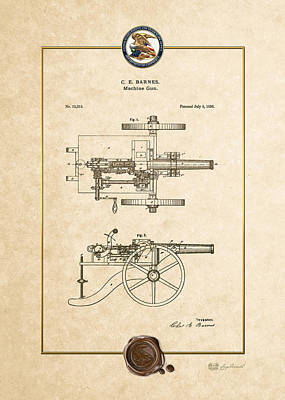 Digital Art - Machine Gun - Automatic Cannon By C.e. Barnes - Vintage Patent Document by Serge Averbukh