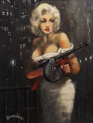 Typewriter Painting - Machine Gun Madam by Tom Shropshire