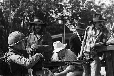 Beers On Tap - Machine gunner Tombstone re-enactors 100th anniversary parade Nogales Arizona 1980 by David Lee Guss