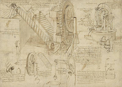 Sketch Drawing - Machines To Lift Water Draw Water From Well And Bring It Into Houses From Atlantic Codex  by Leonardo Da Vinci