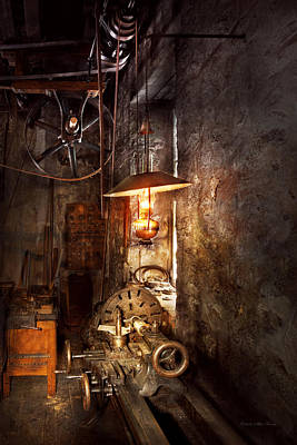 Photograph - Machinist - Lathe - The Corner Of An Old Workshop by Mike Savad