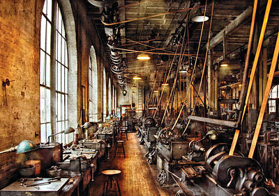 Nostalgic Photograph - Machinist - Machine Shop Circa 1900's by Mike Savad
