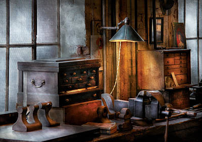 Suburbanscenes Photograph - Machinist - My Workstation by Mike Savad