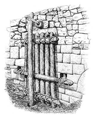 Pole Drawing - Machu Picchu Gate by Granger