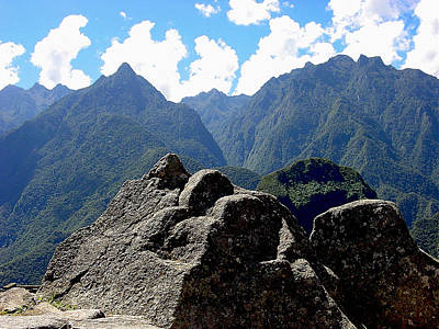 Peru Photograph - Machu Picchu Stone Carving Of Mountains by Roger Burkart