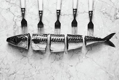Cutlery Wall Art - Photograph - Mackerel&forks by Aleksandrova Karina