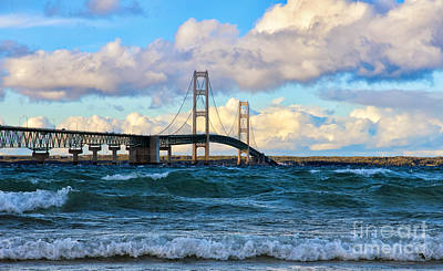 Clouds Photograph - Mackinac Among The Waves by Rachel Cohen