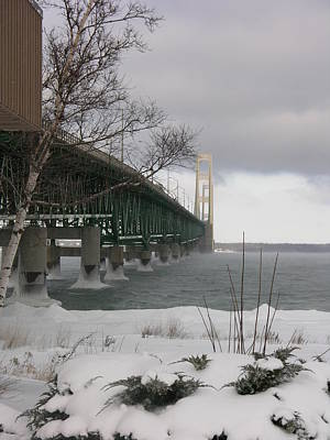 Mackinac Bridge At Christmas Art Print