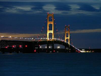 Mackinac Bridge At Dusk Art Print