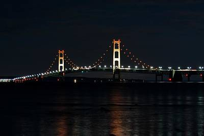 Photograph - Mackinac Bridge At Night by Keith Stokes