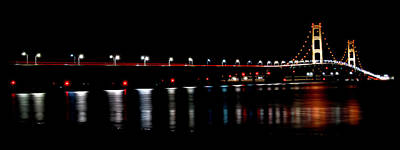 Art Print featuring the photograph Mackinac Bridge At Night by Michael Donahue