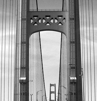 Photograph - Mackinac Bridge Detail 2 Bw by Mary Bedy