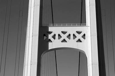 Photograph - Mackinac Bridge Detail 3 Bw by Mary Bedy
