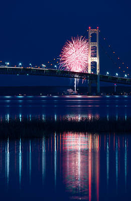 Mackinac Bridge Fireworks Art Print by Steve Gadomski
