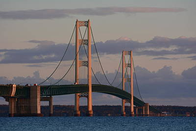 Mackinac Bridge In The Morning Sun Art Print by Keith Stokes