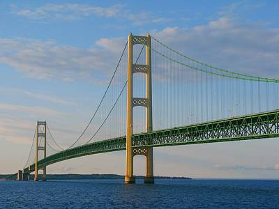 Photograph - Mackinac Bridge In The Setting Sunlight by Keith Stokes