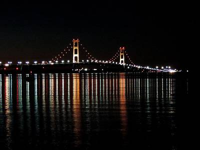 Mackinac Bridge Lights Art Print