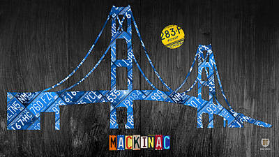 Recycle Mixed Media - Mackinac Bridge Michigan License Plate Art by Design Turnpike