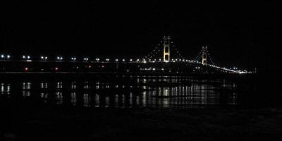 Photograph - Mackinac Bridge On A Cold Night by Keith Stokes