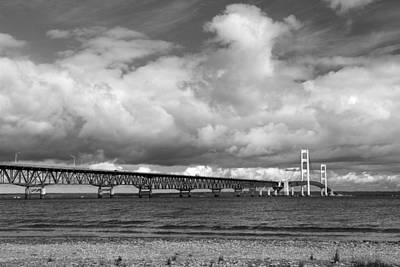 Photograph - Mackinac Bridge With Clouds 2 Bw by Mary Bedy