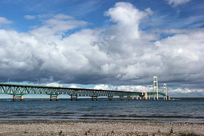 Photograph - Mackinac Bridge With Clouds 2 by Mary Bedy