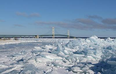 Mackinac Bridge With Ice Windrow Art Print