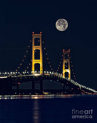 Mackinac Bridge With Moonrise Print by Todd Bielby