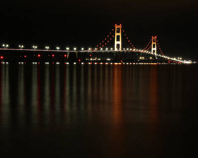 Photograph - Mackinaw Bridge At Night 1 by Scott Hovind