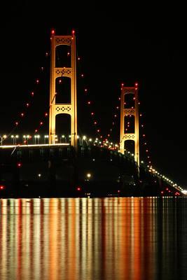 Photograph - Mackinaw Bridge At Night 2 by Scott Hovind