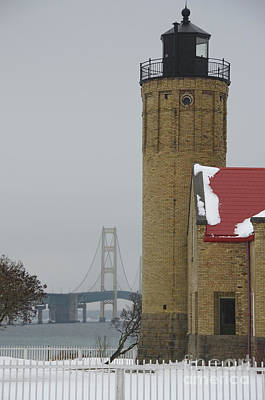 Photograph - Mackinaw Lighthouse And Bridge by David Arment
