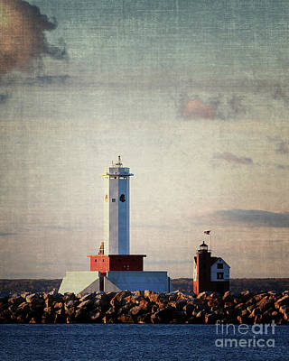 Photograph - Macknac Island Lighthouse by Anne Raczkowski