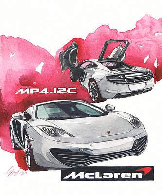 12c Painting - Maclaren Mp4-12c by Yoshiharu Miyakawa