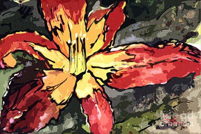 Painting - Macro Flower Modern Art Lilies by Ginette Callaway