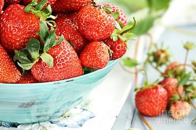 Macro Of Fresh Strawberries  Art Print by Stephanie Frey