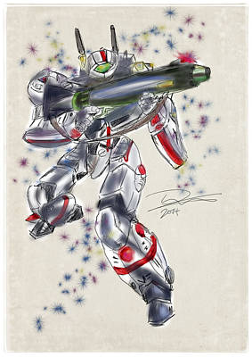 Drawing - Macross Veritech Fighter by Tim Nichols