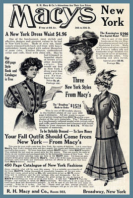 Photograph - Macy's Fashion Ad October 1907 by Phil Cardamone