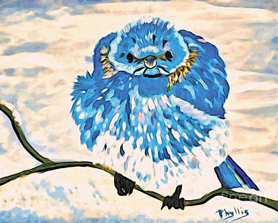 Painting - Mad Angry Blue Bird by Phyllis Kaltenbach