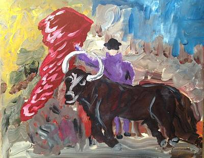Multimedia Painting - Mad Bull Has Lost His Way by Edward Paul