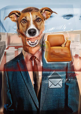 Ties Mixed Media - Mad Dog by Russell Pierce