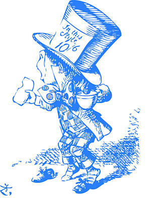 Mad Hatter Blue Art Print by