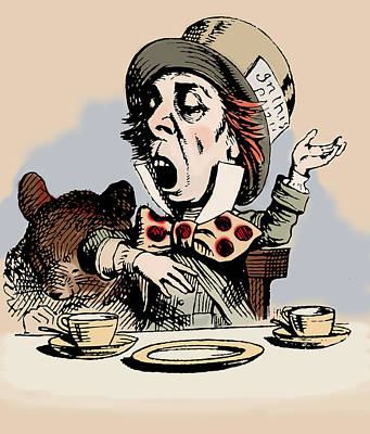 Tea Party Drawing - Mad Hatter Color by John Tenniel