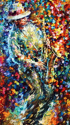 Saxophone Player Painting - Mad Jazz by Leonid Afremov