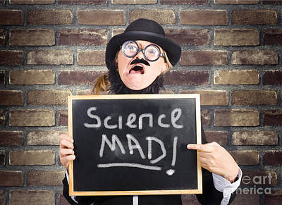 Mad Scientist Showing Blank Science Diagram Art Print
