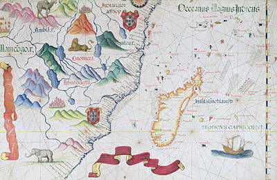 Zimbabwe Photograph - Madagascar And East African Coastline, Detail From A World Atlas, 1565 Vellum by Diego Homem