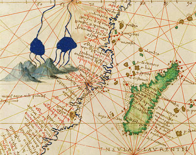 Nautical Chart Photograph - Madagascar, From An Atlas Of The World In 33 Maps, Venice, 1st September 1553 Ink On Vellum Detail by Battista Agnese
