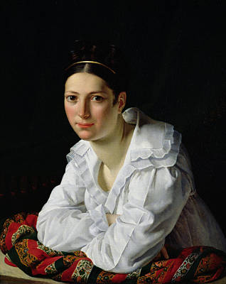 White Shirt Painting - Madama Claude Marie Dubufe by Claude-Marie Dubufe
