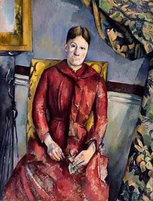 Madame Cezanne In A Red Dress Art Print by Paul Cezanne