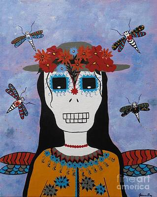 Painting - Madame Dragonfly Day Of The Dead by Jean Fry