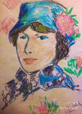 Pastel - Madame In A Blue Straw Hat by Joan-Violet Stretch